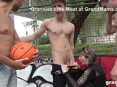 super-naughty grandmother plows Basketball Twinks in Public