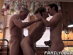 Naughty stepdad and stepson taboo banging blonde twink