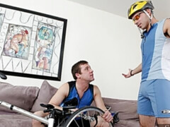Biking enthusiasts Trevor Knight and Nikko Alexander fuck on the couch