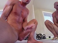Porn stud Johnny Sins Jerks Off while Working Out