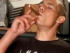 Smoking twink pulling his cock and making it rain