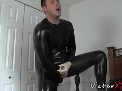 Chubby mature is fucking his asshole while masturbating